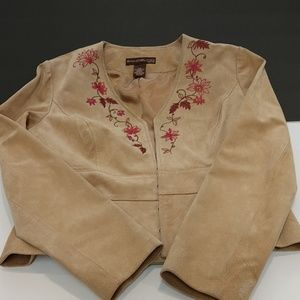 Leather Suede Embroidered Jacket Size 4 Petite